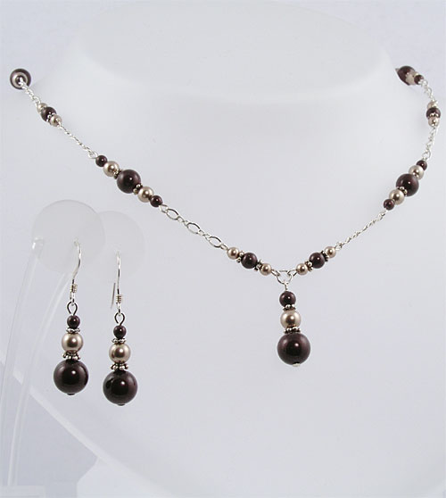 Swarovski Pearls - Sterling Silver Necklace and Earring Set - B-04P by Looney Maiden