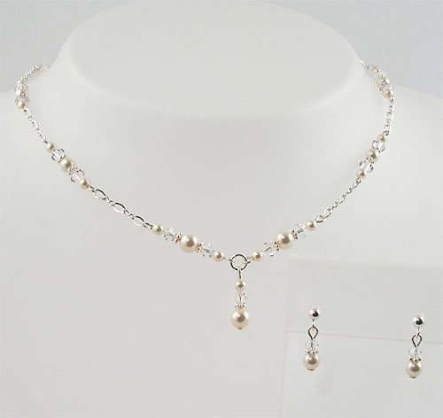 Swarovski Pearls - Swarovski Crystal - Sterling Silver Necklace and Earring Set - FGS-01 by Looney Maiden
